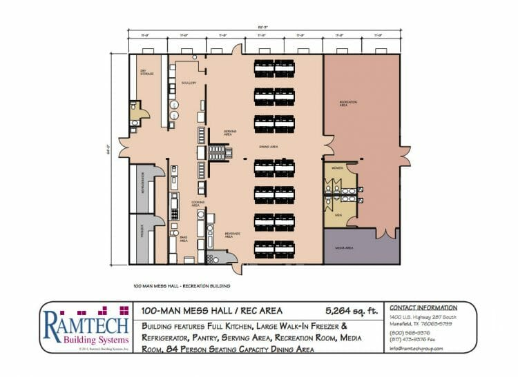 100 man mess hall and rec area floor plan