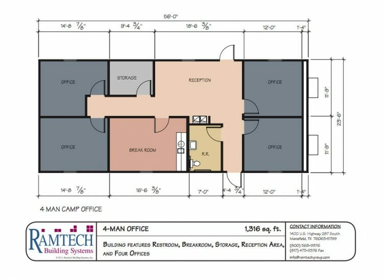 4 man office floor plan