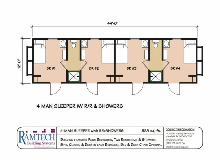 4 man sleeper with restrooms and showers floor plan