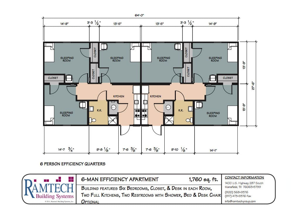 6 man efficiency apartment floor plan
