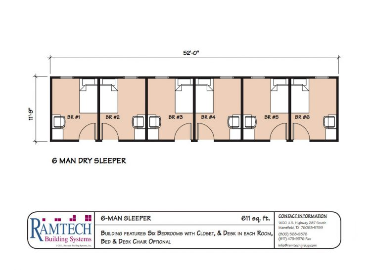 6 Man sleeper floor plan
