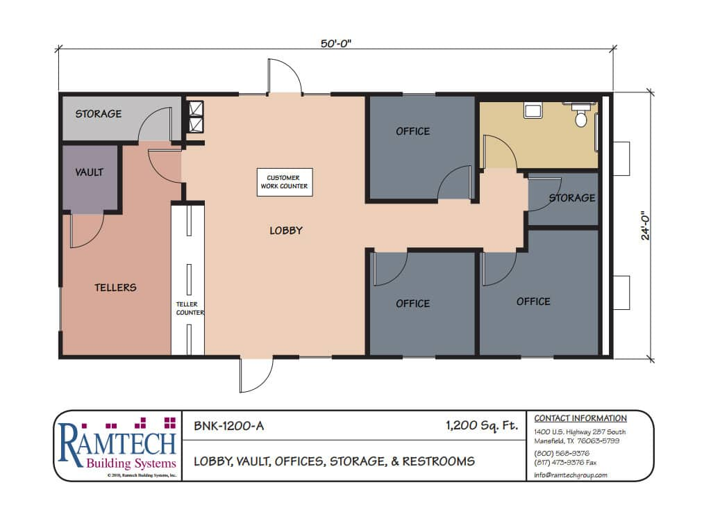 bank lobby, bank vault, bank offices floor plan