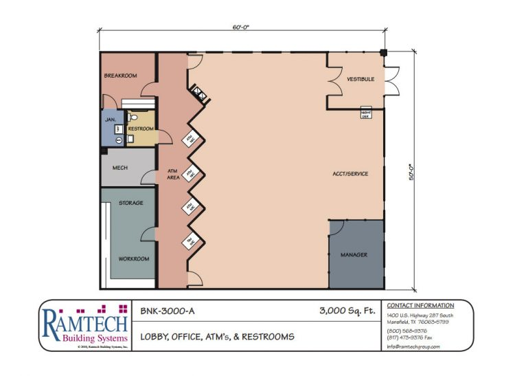 Office lobby and restroom floor plan