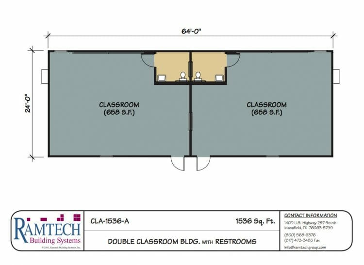 double classroom building with restroom floor plan