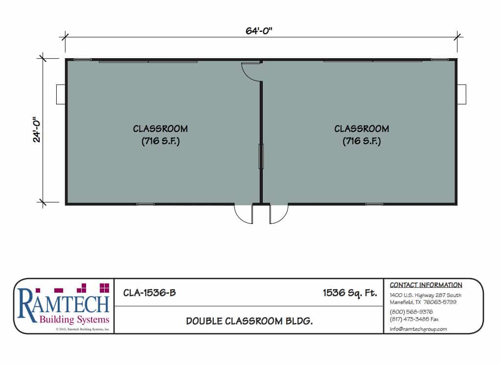 double classroom building floor plan