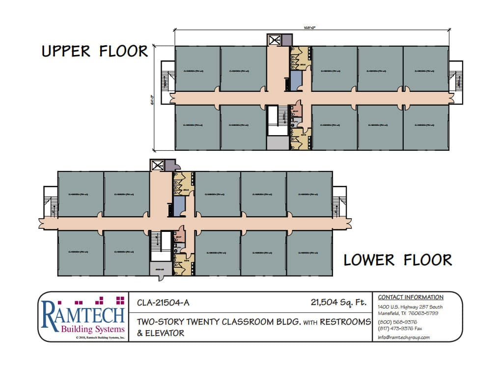2-story classroom building floor plan