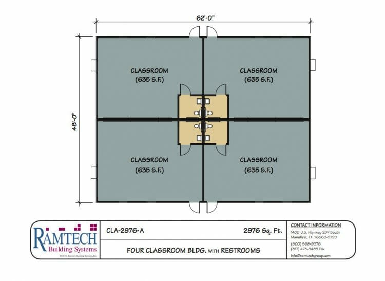 4 classroom building with restroom floor plan