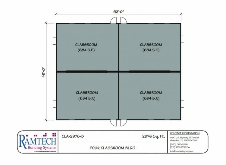 4 classroom building floor plan