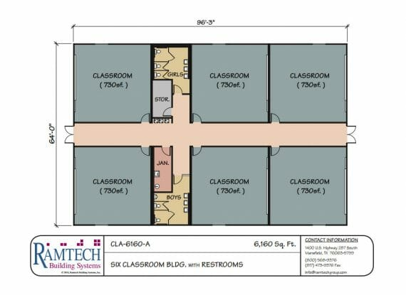 16 classroom building with restroom floor plan
