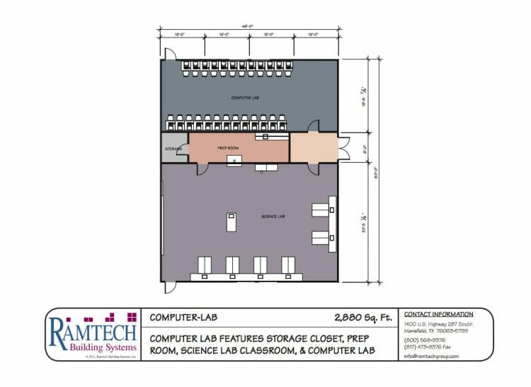computer lab and science classroom floor plan