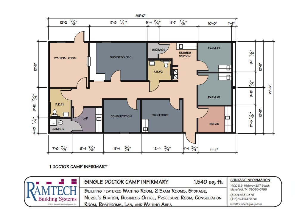 single doctor camp infirmary floor plan