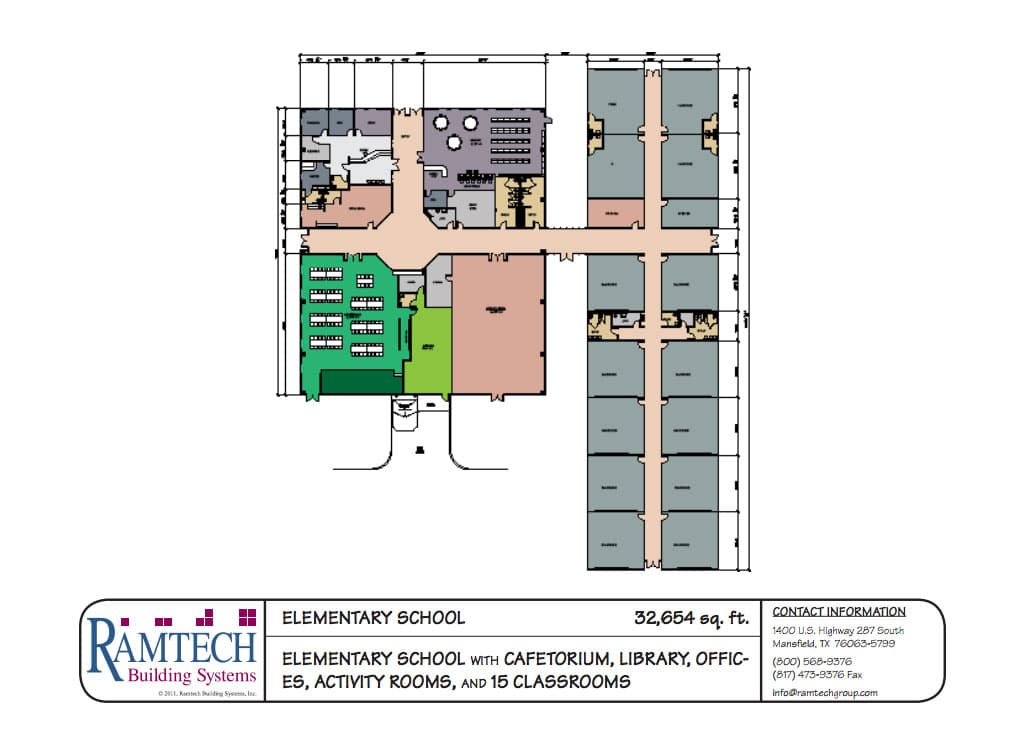 elementary school cafeteria, library and offices floor plan