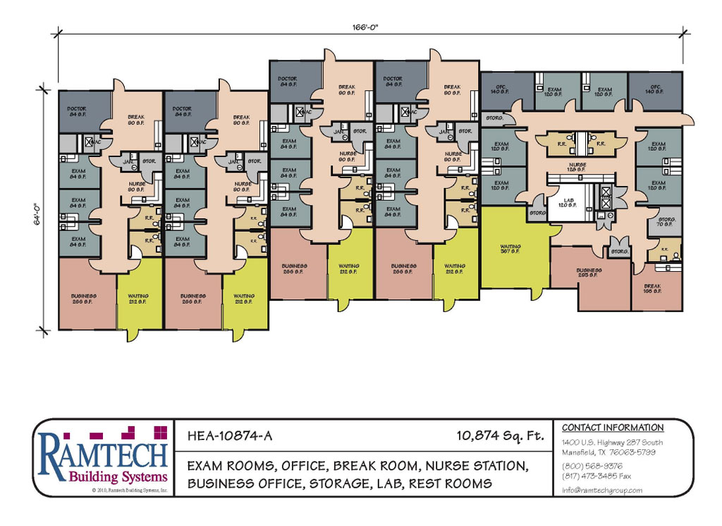 exam rooms, offices, nurse station and business office floor plan