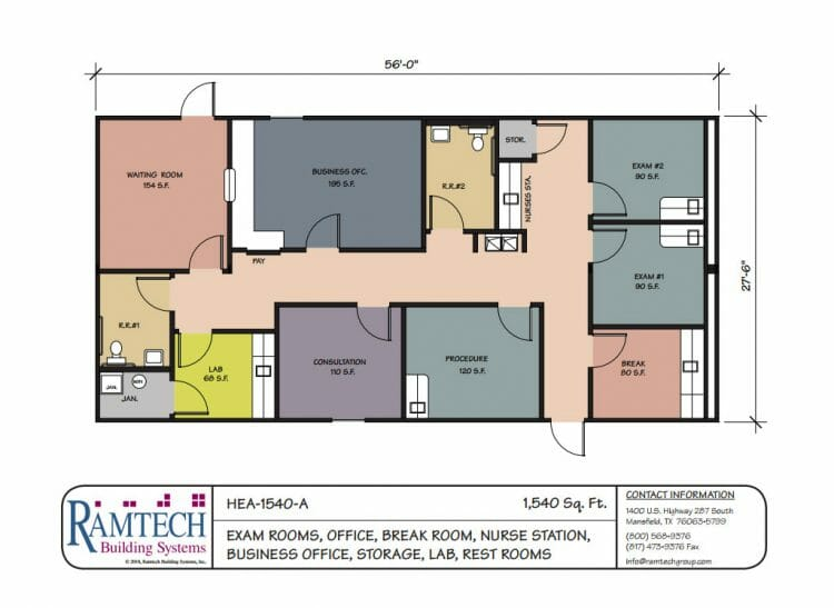 medical exam room and nursing station business office floor plan