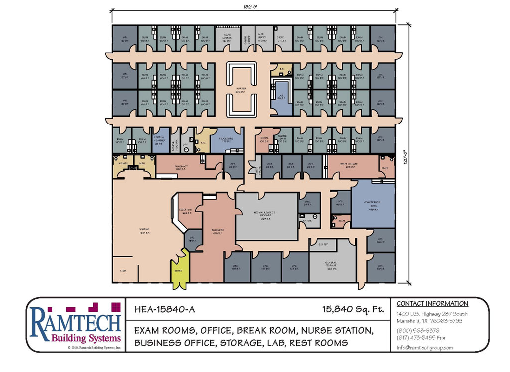 exam rooms, offices, nurse station business office floor plan