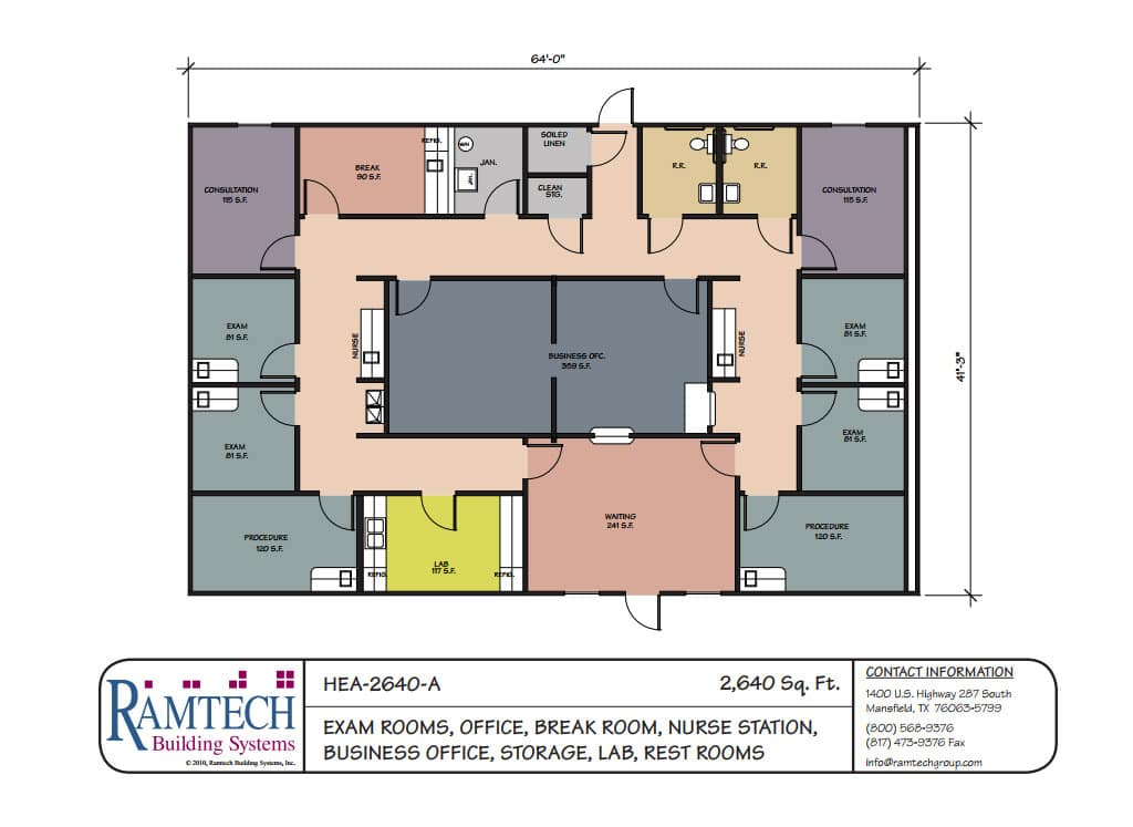 medical exam rooms and nursing station business office floor plan