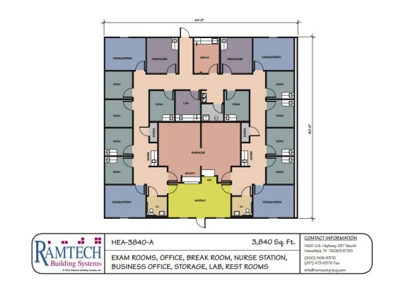 medial exam rooms, medical business offices floor plan