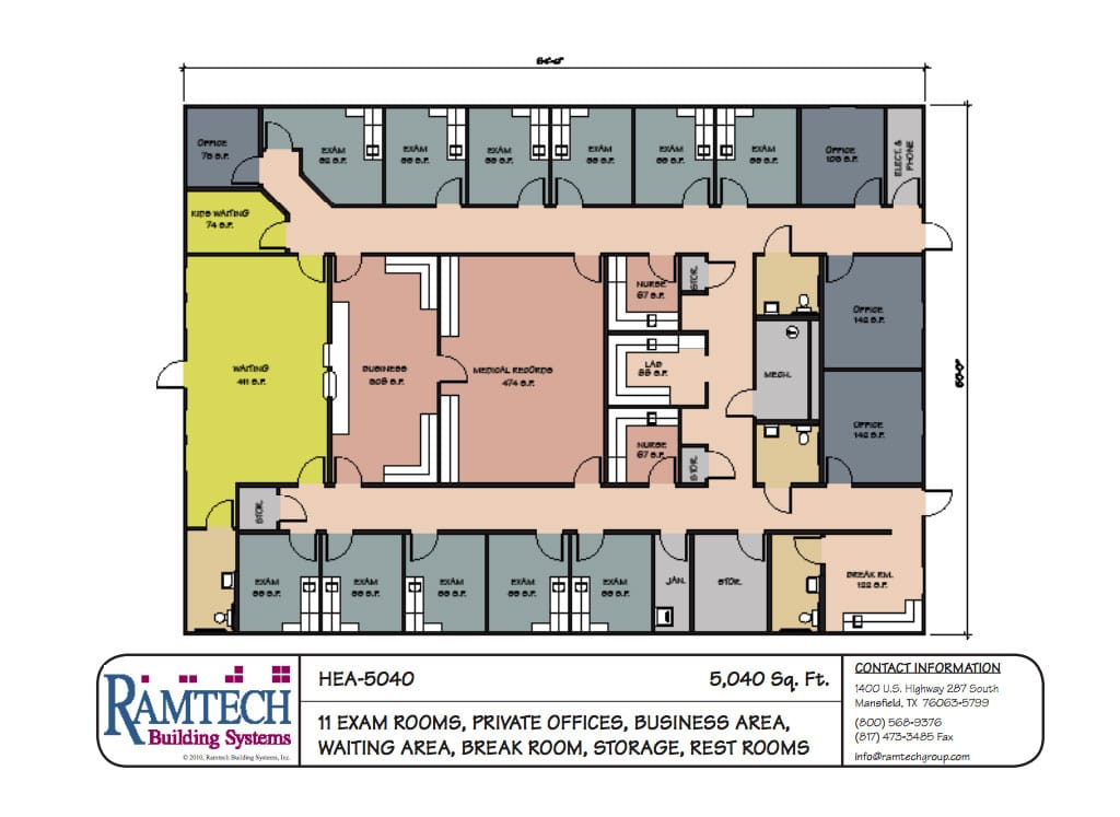 11 medical exam room and business office floor plan