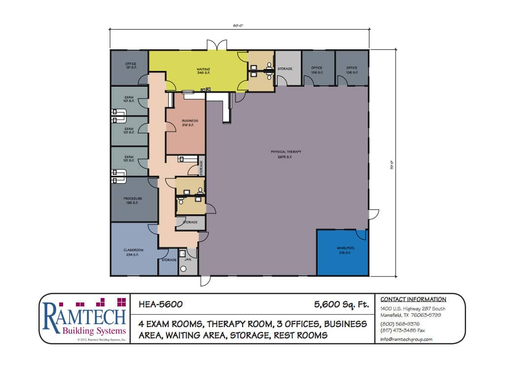 4 medical exam room and business offices floor plan