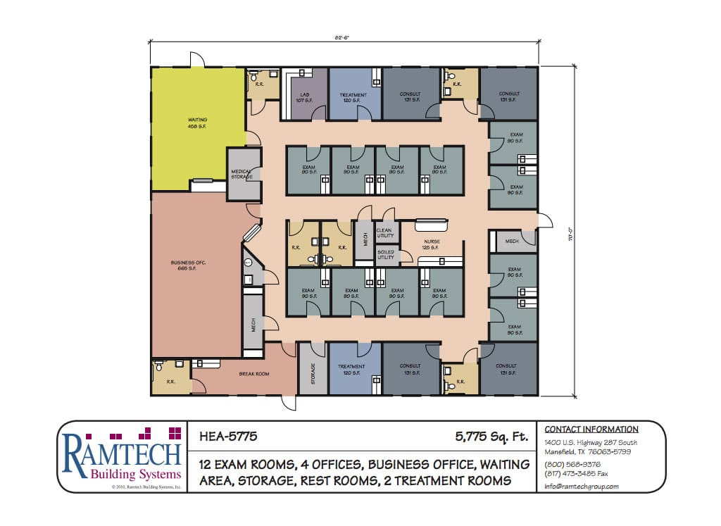 12 medical exam rooms and business offices floor plan