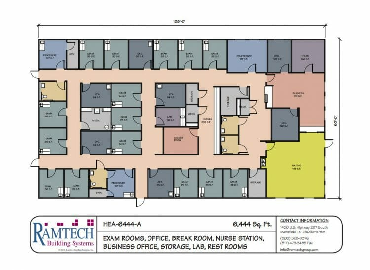 medical exam room and business office floor plan