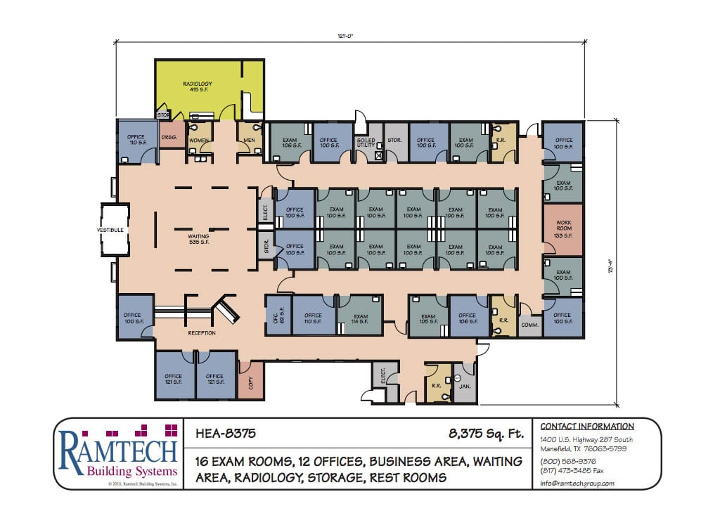 16 medical exam room and business office floor plan