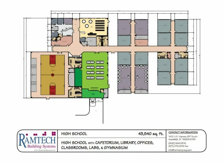 high school cafeteria, library and offices floor plan