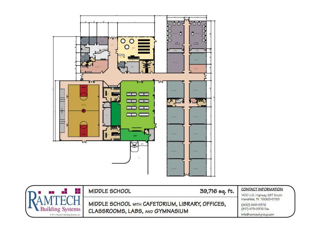 middle school cafeteria, library and offices floor plan