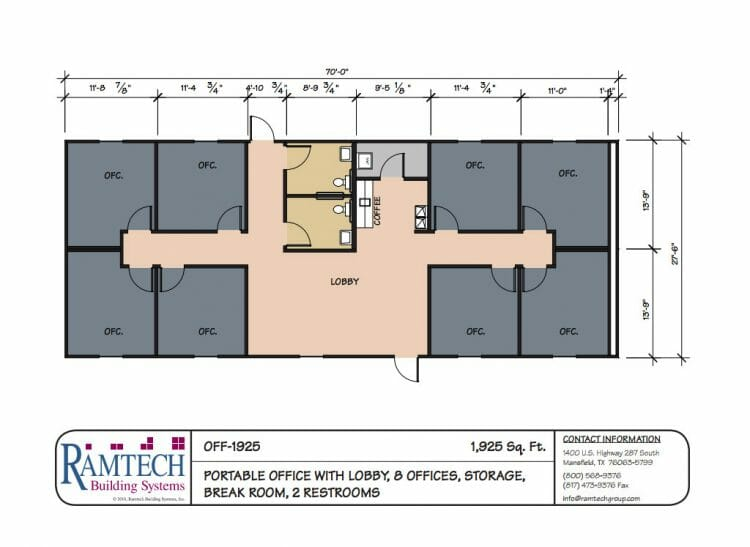 portable office with lobby and business offices floor plan