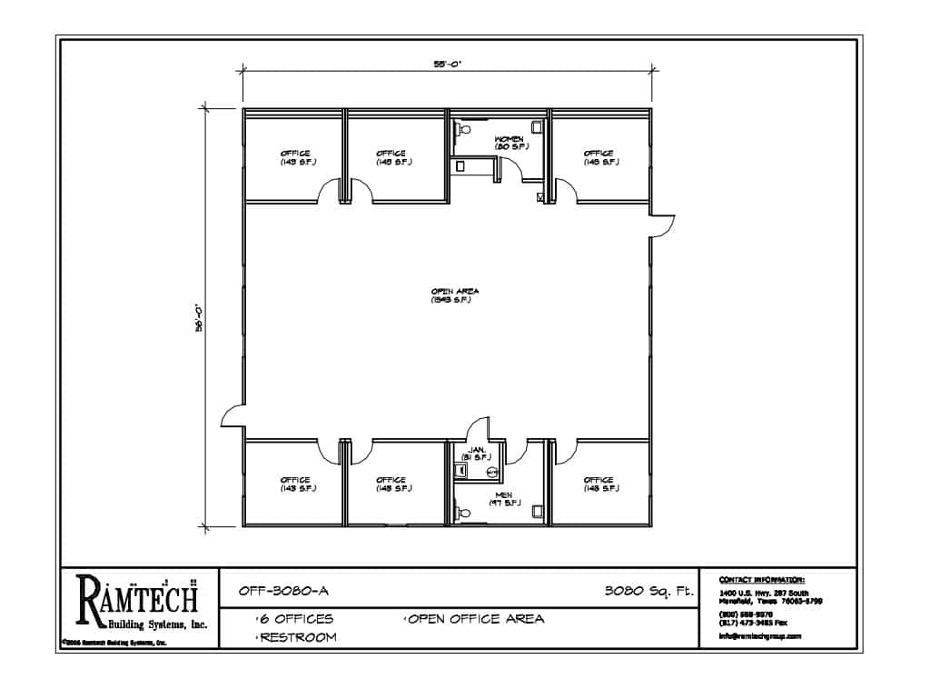 open office floor plans. commercial business offices floor plan Six Room Open Office  3 850SF Ramtech Modular