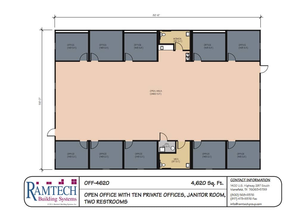 commercial open office and restrooms floor plan
