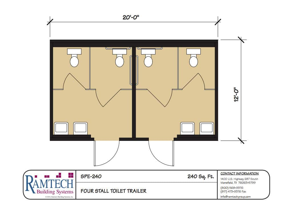 4 stall toilet trailer floor plan