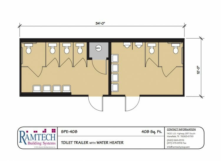 Toilet trailer floor plan