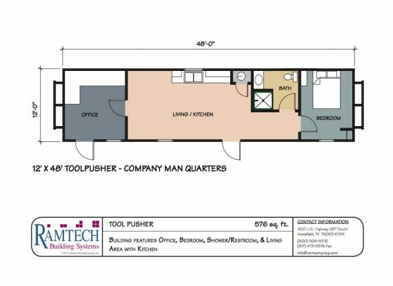Tool pusher company man quarters floor plan