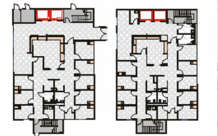 permanent modular building Veterans Administration Atlanta Hospital floorplan